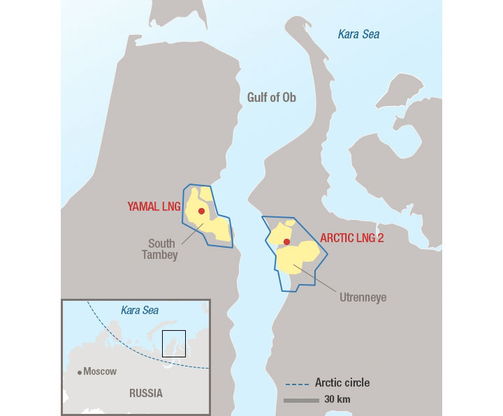 The Arctic LNG 2 and the Yamal LNG. Map by Total.com