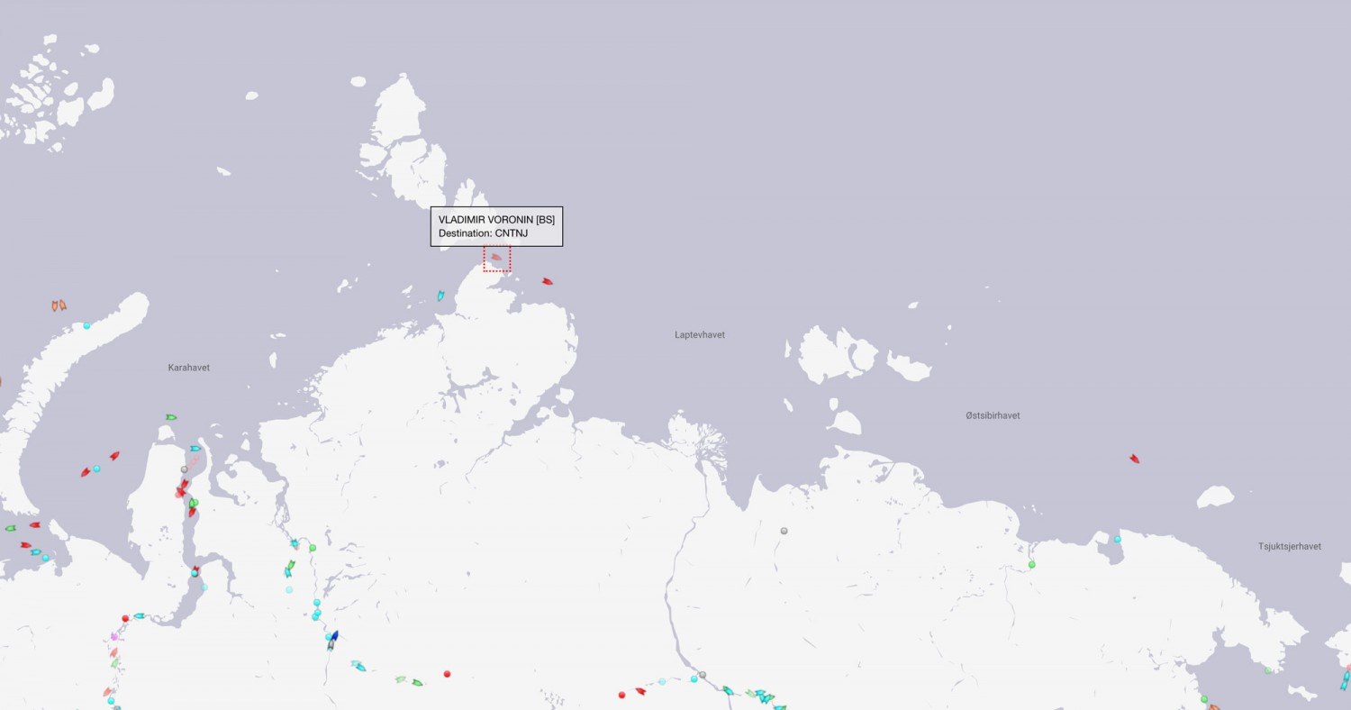 Shipments in the Northern Sea Route 27th May 2020. Map by MarineTraffic