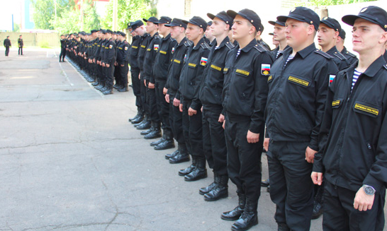 Russian army recruits serve officers