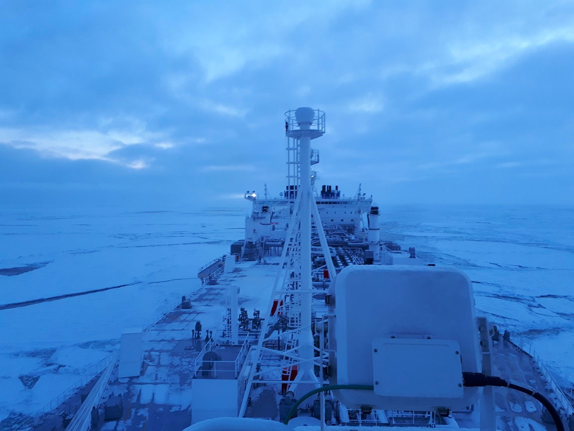Two new-built tankers are crossing the Arctic in mid winter